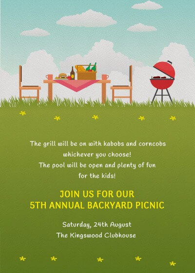 Picnic In The Park Invitation Invites