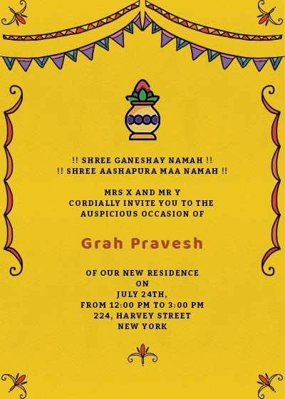Online invitation card designs invites grah pravesh colors stopboris Image collections