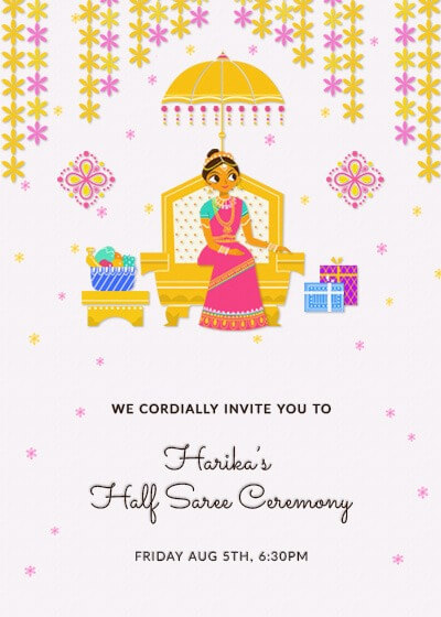 Traditional Halfsaree Invitation Invites