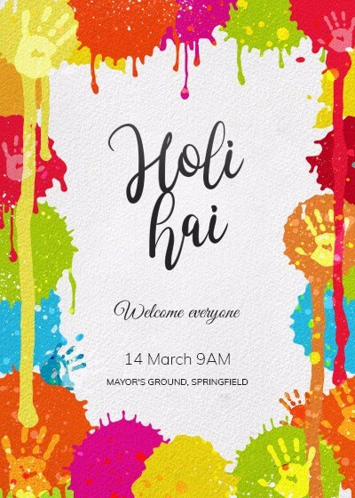 holi - splash in the party invitation