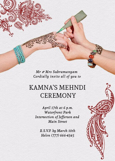 Henna Mehndi Ceremony Invitation - Invites