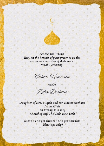 nikah ceremony elegant gold foil invitation invites. Black Bedroom Furniture Sets. Home Design Ideas