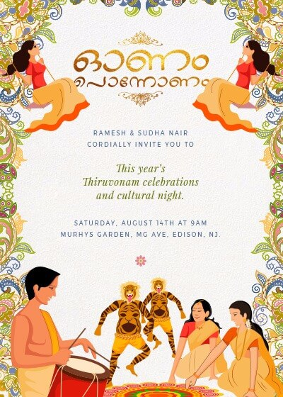 Spirit of onam invitation invites a celebratory onam scene displayed skillfully captures the essential spirit of this festival that rings in the new year stopboris Images
